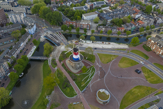 May 5, 2019: Aerial view of Museum De Valk in Leiden