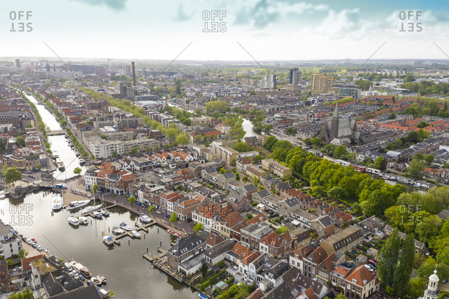 Aerial view of Leiden city with harbor