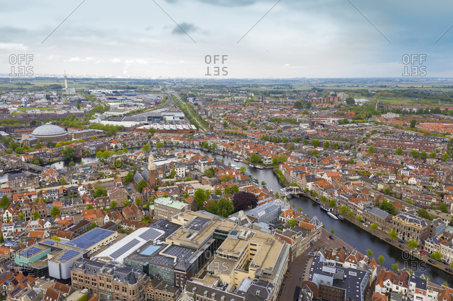 Aerial view of Leiden city against sky