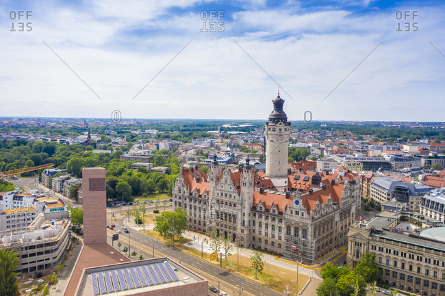 June 10, 2019: High angle view of New Town Hall in Leipzig city