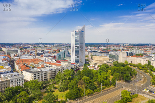 June 10, 2019: High angle view of City-Hochhaus in Leipzig cityscape against cloudy sky