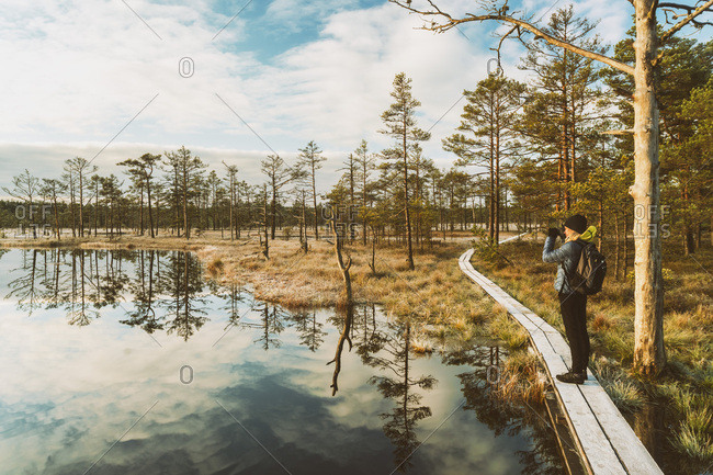 Woman with backpack standing on boardwalk in autumn looking at view- Lahemaa National Park- Estonia