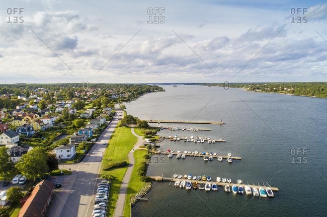 Aerial view of VŠstervik shores close to the old city- VŠstervik- Kalmar- Sweden