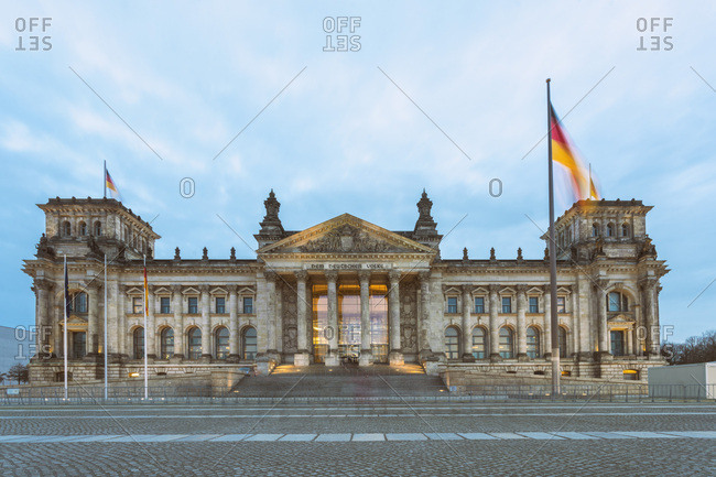 January 6, 2018: Reichstag building at dusk- Berlin- Germany