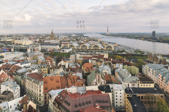October 27, 2017: View of the city from above- Riga- Latvia