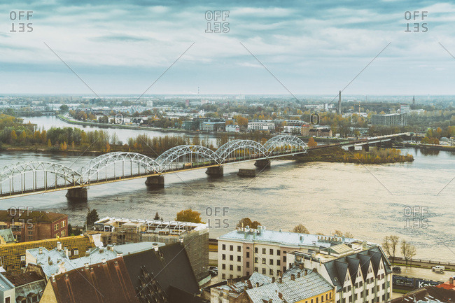 October 27, 2017: View of the city from above with the railway bridge- Riga- Latvia