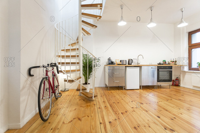 Interior of a modern apartment with bike