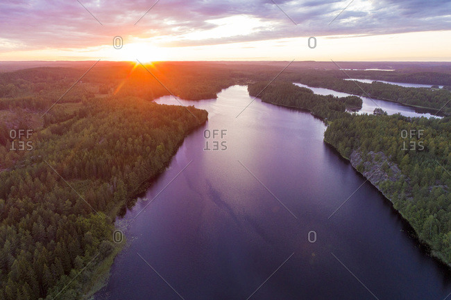 A lake at sunset in Tjust region- Southeastern Sweden