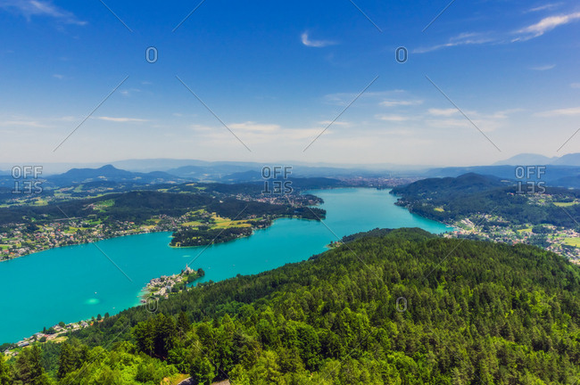 Idyllic high angle view of islands in Lake Worthersee seen from Pyramidenkogel tower