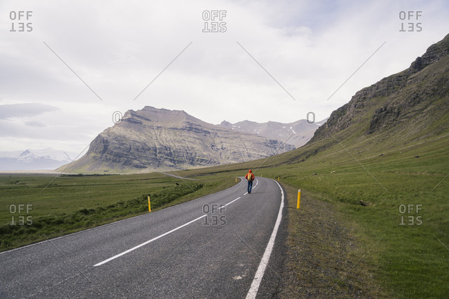 Mature man hiking on Ring Road 1Southern Region- Iceland