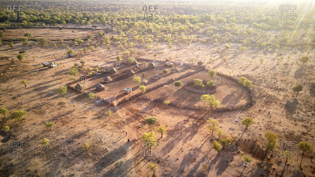 Aerial view of a village in Angola- surrounded for fences