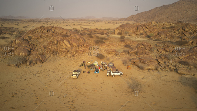 Aerial view of expedition of 4x4 cars- Camp in the Iona National Park- Angola- Africa