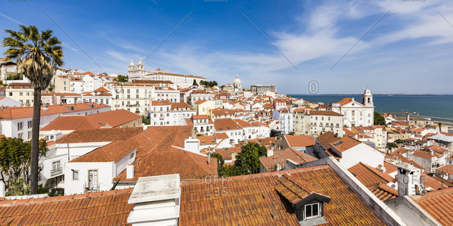 March 26, 2019: Portugal- Lisbon- View of Alfama district and Tagus river