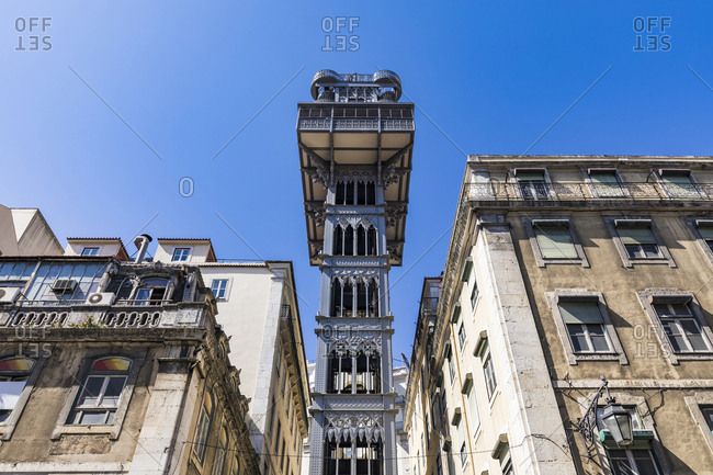 March 27, 2019: Portugal- Lisbon- Low angle view of Santa Justa Lift