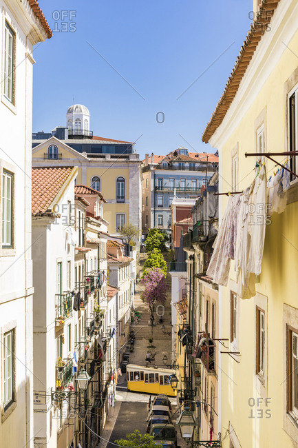 Portugal- Lisbon- Buildings and Bica Funicular in Bairro Alto