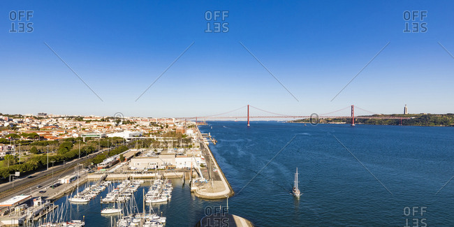 March 27, 2019: Portugal- Lisbon- Belem- Marina on Tagus river and 25 de Abril Bridge