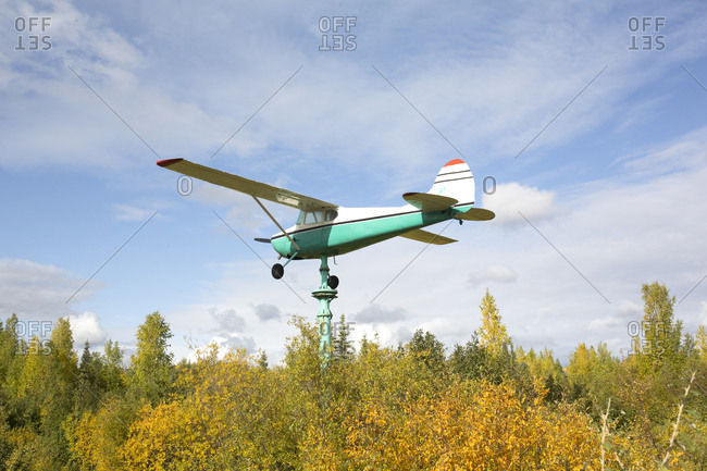 Inuvik, Canada - August 8, 2019: Inuvik town's wind direction plane turning in the wind