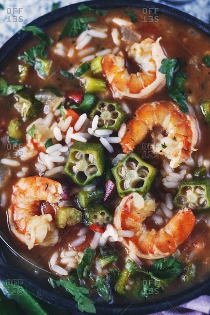 Shrimp and okra gumbo detail