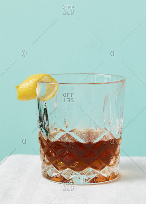 Classic old fashioned in a cocktail glass