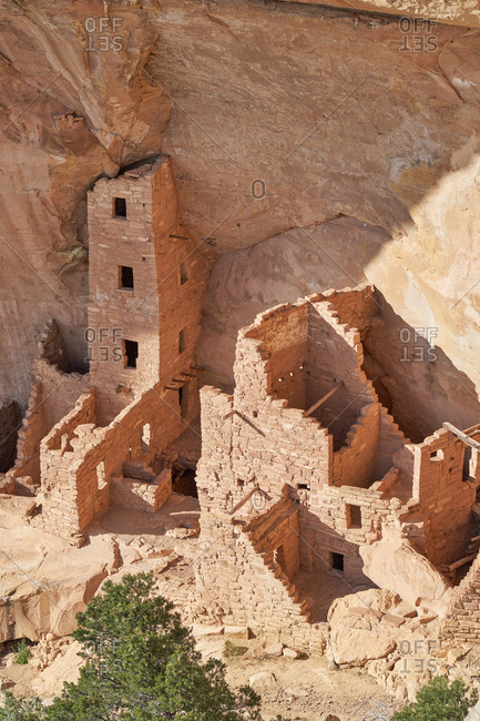 Puebloan cliff dwellings of the Cliff Palace in Mesa Verde National Park in Colorado