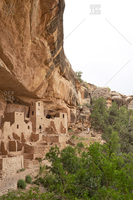 The ancient Cliff Palace in the canyons of Mesa Verde National Park in Colorado