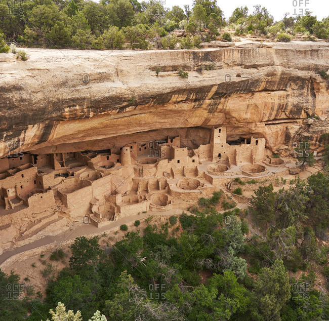 Elevated view of the remains of the Cliff Palace in Mesa Verde National Park in Colorado