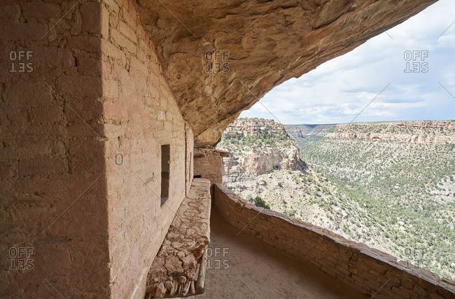 View from inside an ancient cliff dwelling in Mesa Verde National Park, Colorado