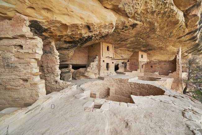 Detail of ancient cliff dwelling in Mesa Verde National Park, Colorado