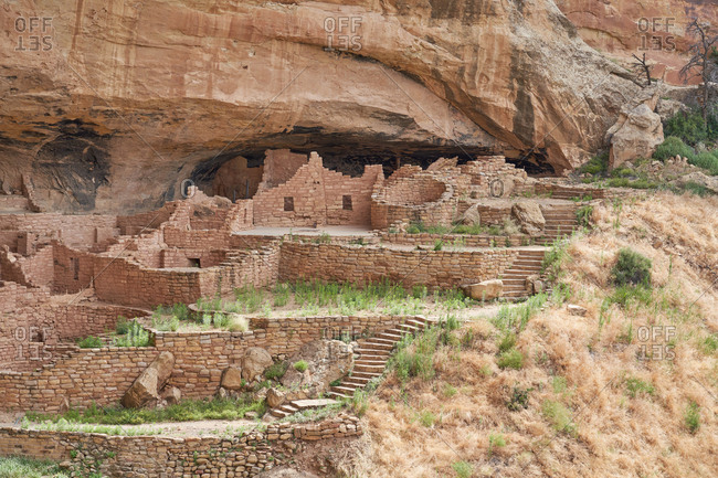 Ancient cliff dwellings in the side of a canyon, Mesa Verde National Park, Colorado