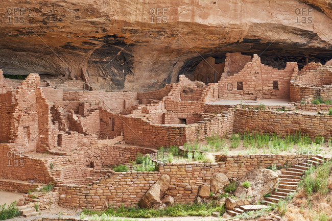 Ancient stonework of the Cliff Palace, Mesa Verde National Park, Colorado