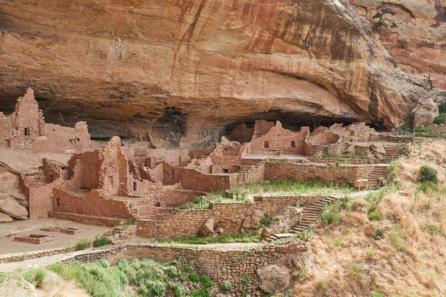 Ancient stonework of the Cliff Palace in Mesa Verde National Park, Colorado
