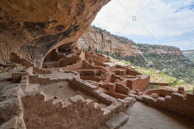 View from inside the ancient cliff dwellings of the Cliff Palace, Mesa Verde National Park, Colorado
