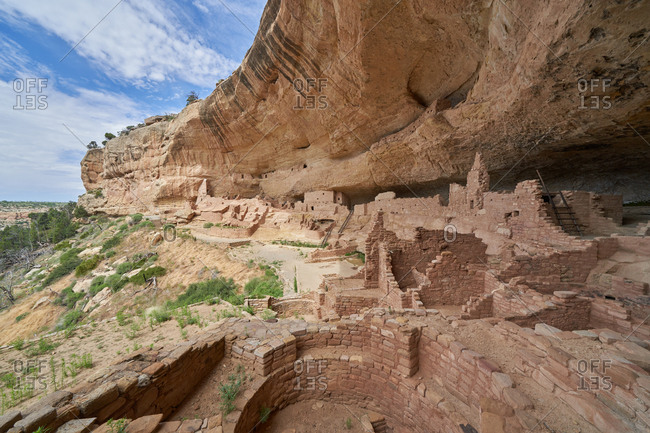 Ancient cliff dwellings in the mountainside of Mesa Verde National Park in Colorado