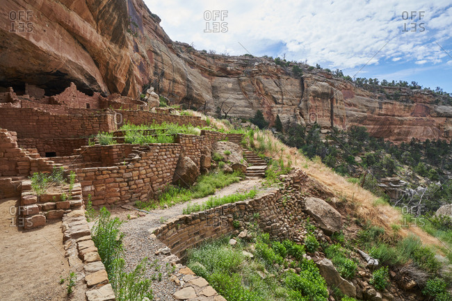 Ancient Puebloan cliff dwellings in Mesa Verde National Park in Colorado