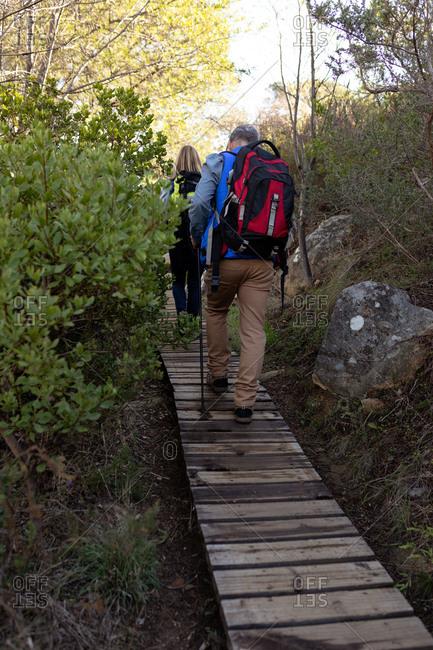 Couple enjoying time hiking in nature