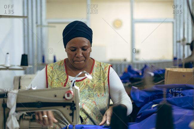 Woman working in a clothing factory