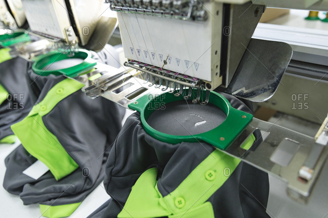 Making t shirts in a clothing factory