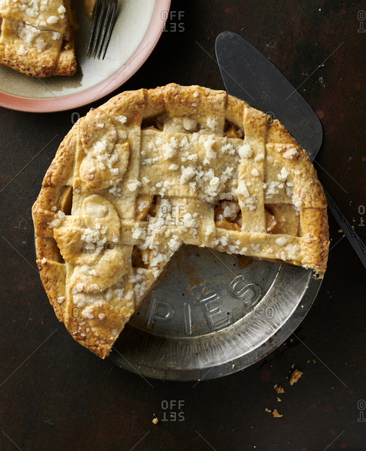 Homemade apple pie in pie tin