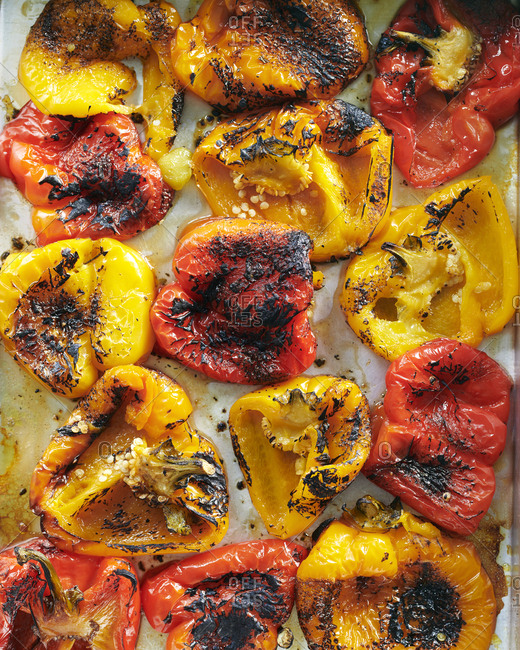 Roast peppers in a baking dish