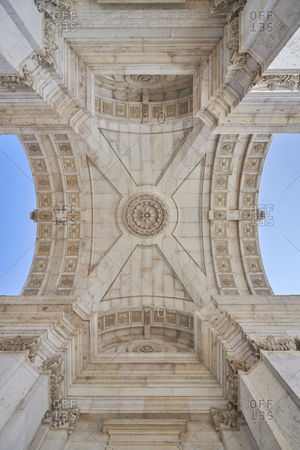 Beautifully ceiling of the Triumphal Arch (Arco da Rua Augusta) in the Commerce square in Lisbon, Portugal