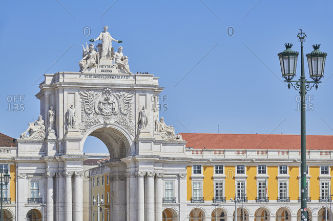 Lisbon, Portugal - August 28, 2019: The Rua Augusta Arch taken from Commercial Square, known locally as Praca do Comercio on a sunny day