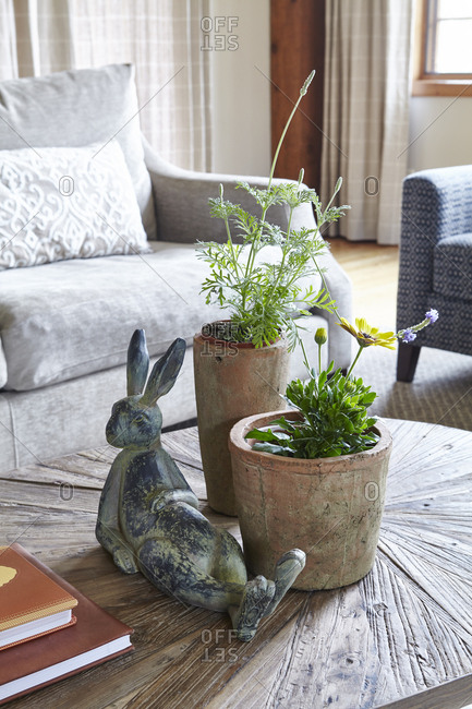 Bunny sculpture on coffee table with plants