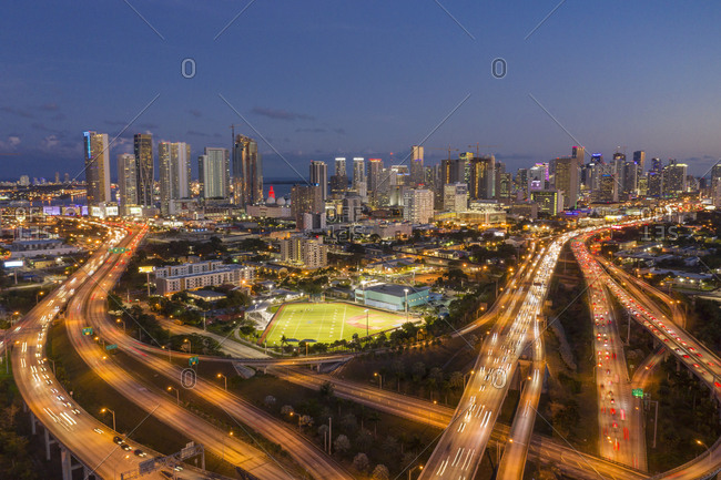 Usa, Florida, Miami,  - January 18, 2019: Highway bridges at sunset in Miami, USA