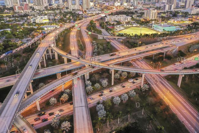 Miami, Florida, USA - January 18, 2019: Highway bridges in Miami, USA