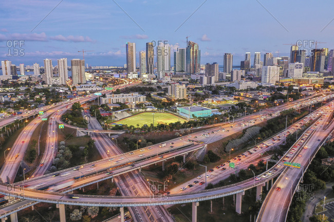 Miami, Florida, USA - January 18, 2019: Highway bridges in Miami, USA
