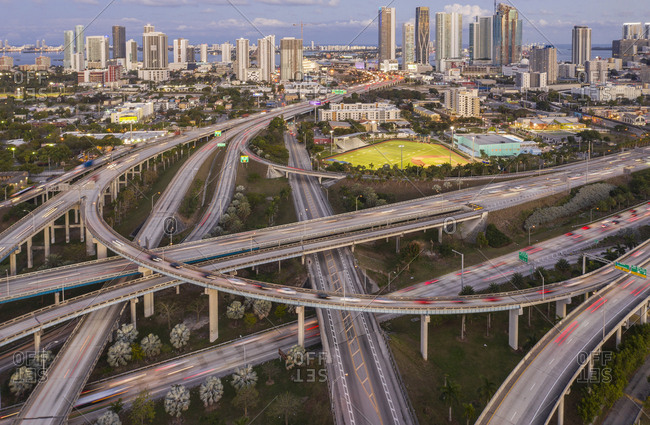 Usa, Florida, Miami,  - January 18, 2019: Highway bridges in Miami, USA
