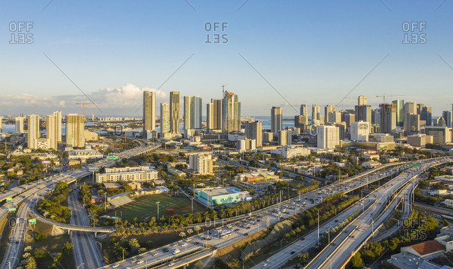 Usa, Florida, Miami,  - January 17, 2019: Cityscape of Miami, USA