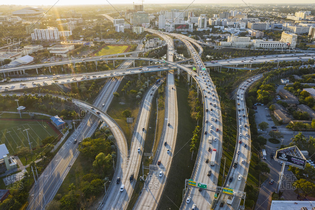 Usa, Florida, Miami,  - January 17, 2019: Aerial view of highways in Miami, USA