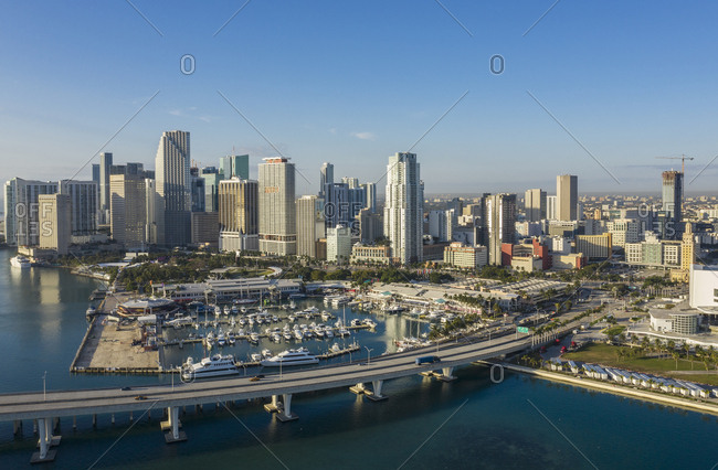 Usa, Florida, Miami,  - January 17, 2019: Marina by skyline of Miami, USA