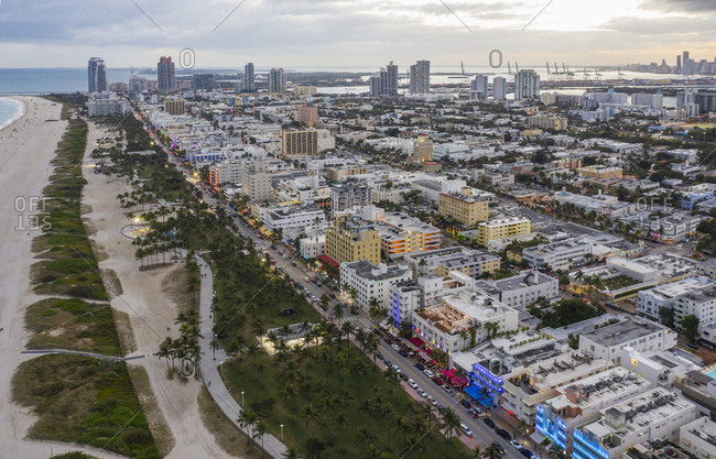 Usa, Florida, Miami Beach. - January 22, 2019: Cityscape of South Beach in Miami, USA